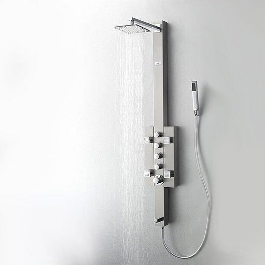 FSP8002BS Lecco (Brushed Silver) Thermostatic Shower Massage Panel