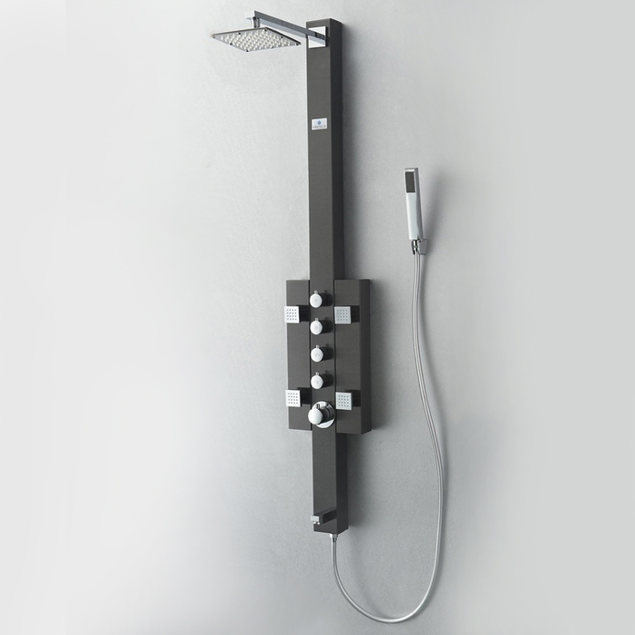 FSP8002BG Lecco (Brushed Gray) Thermostatic Shower Massage Panel